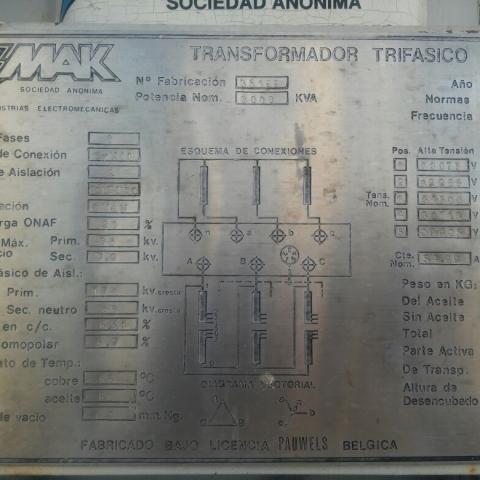 Transformador de Tensión 30 / 6,3 kV